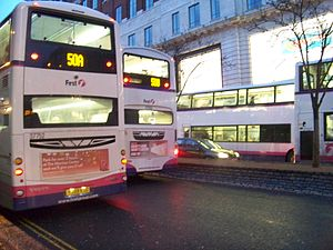 First Leeds - Numerous First Leeds buses on The Headrow.