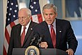 Bush addresses media on Israel-Lebanon w Cheney Aug 14 2006.jpg