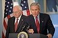 Bush addresses media on Israel-Lebanon w Cheney Aug 14 2006.jpg