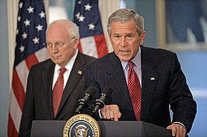 George W. Bush with Vice President Dick Cheney addressing the media at the U.S. State Department after a series of meetings discussing America's foreign policy, August 14, 2006. White House photo by Eric Draper.