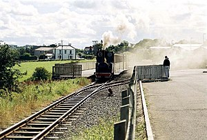 Bushmills - Bushmills Station with a steam locomotive on the 3 ft gauge track.