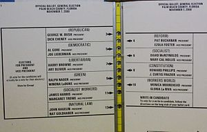 "2000 United States presidential election recount in Florida - ""Butterfly ballot"""