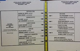 "Palm Beach County, Florida - The ""butterfly ballot"" used during the 2000 election in Palm Beach County"