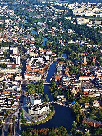 Polski: Centrum Bydgoszczy z lotu ptaka