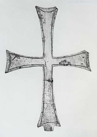 Byzantine silver - Example of a plain silver cross that may at one time had images.   Walters Art Museum.