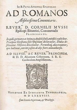 "Cornelio Musso - Title page of Musso's ""Comment. in epist. ad Romanos"" (Venice, 1588)"