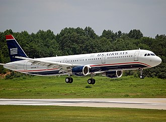 Charlotte Douglas International Airport - A US Airways Airbus A321-200 landing at Charlotte Douglas International Airport in June 2009.