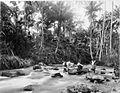 COLLECTIE TROPENMUSEUM Vier Batakkers zitten op rotsblokken in een rivier die stroomt langs de kampong. TMnr 60001612.jpg
