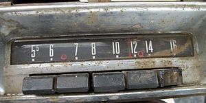 CONELRAD - Car radio with CONELRAD frequencies marked with small red marks