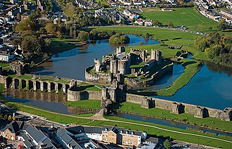 Caerphilly Castle - Caerphilly Castle and moat