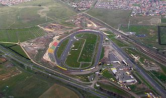 Calder Park Raceway - Aerial view of the Thunderdome and the bottom end of the road circuit from north