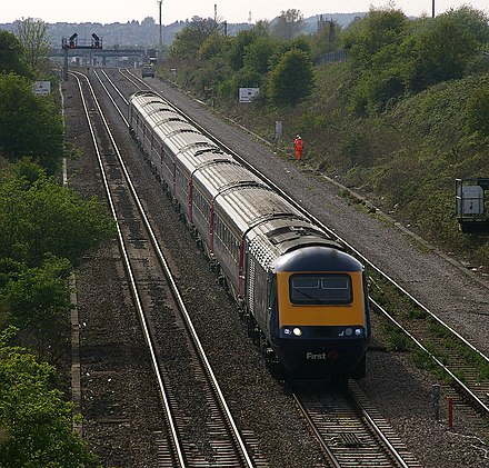 The InterCity 125 is the world's fastest diesel train Caldicot MMB 02 South Wales Main Line 43XXX.jpg