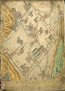 A 12th century sketch drawing of Jerusalem