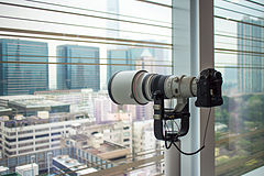Canon EOS-1 with Canon EF USM Super Telephoto L lens as observation deck - Hong Kong - 12 April 2013.jpg