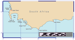 Cape Agulhas - Map showing the location of Cape Agulhas relative to the Cape of Good Hope.