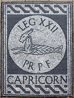 Legio XXII Primigenia - Mosaic with the legion's Capricorn motif.