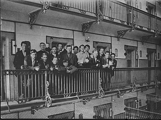 Michael Collins (Irish leader) - Captured Irish soldiers in Stafford Gaol after the failed Easter Rising. Collins is fifth from the right with an 'x' over his head.