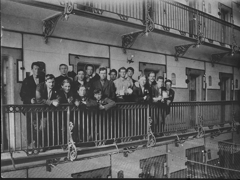 Captured Irish soldiers in Stafford Gaol after the failed 1916 Easter Uprising