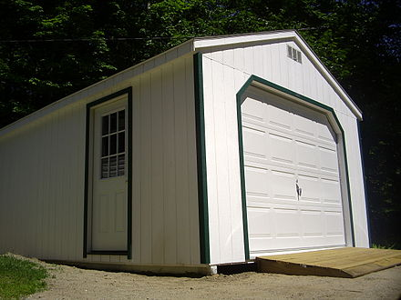 A modern one-car garage, in the United States Car garage -House Detached- July 4th 2008.JPG