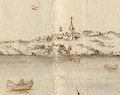 Carcavellas e Forte Sto. Amaro - Vista e perspectiva da Barra, Costa e Cidade de Lisboa (Bernardo de Caula, 1763).png
