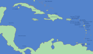 The mostly Spanish-controlled Caribbean in the...