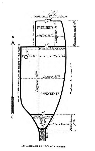 "Sketch plan of the military fort in the place called ""Cheslain de Sainte-Ode"" in Lavacherie  (Commune of Sainte-Ode) on the top of the hill between the Basseile and Ourthe rivers."