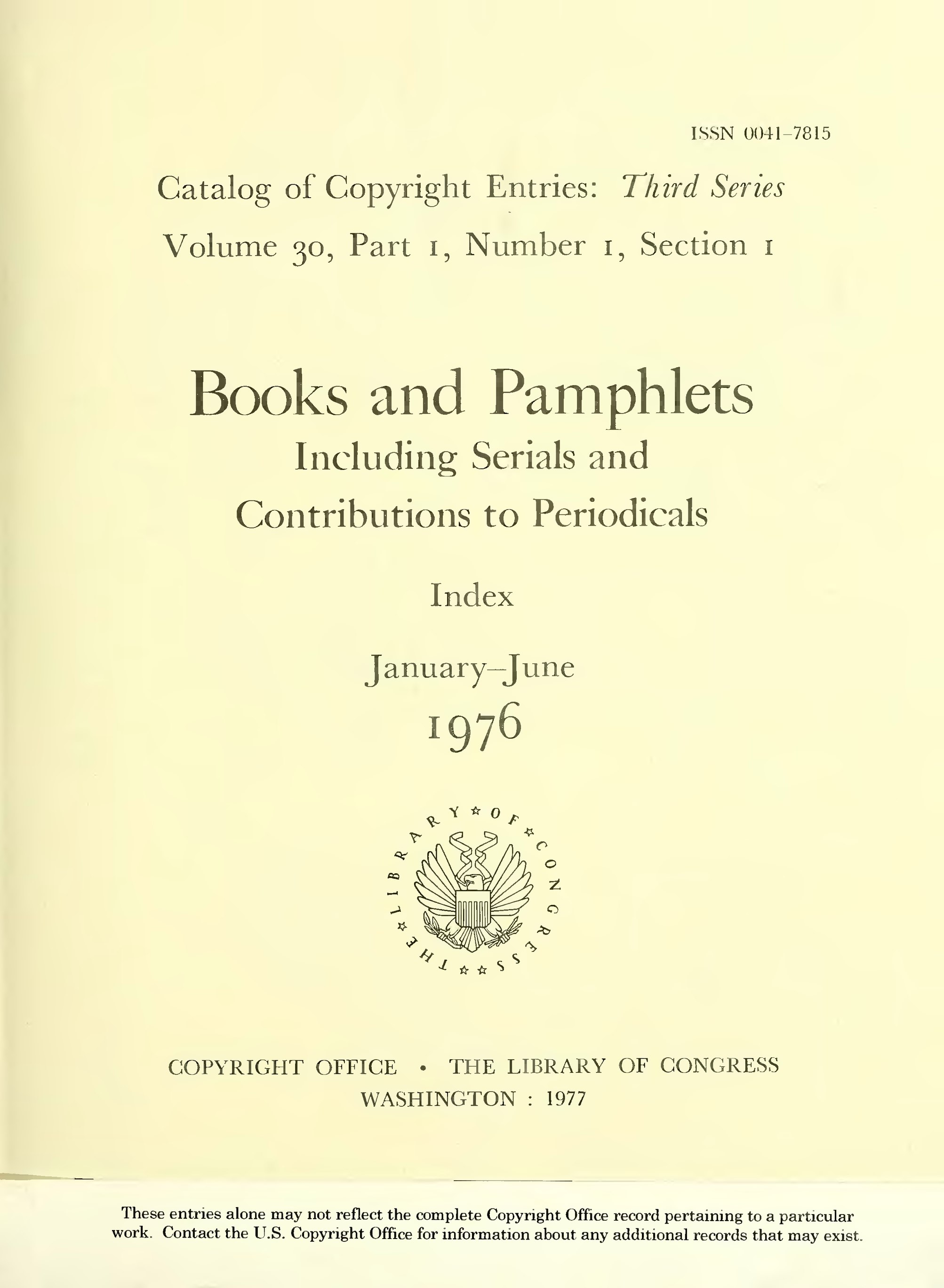 Page:Catalog of Copyright Entries 1976 Books and Pamphlets