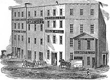 engraving of a city block of mills