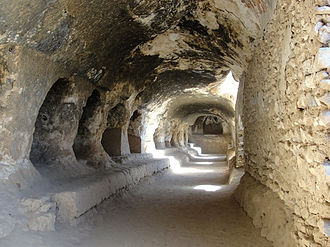 Buddhism in Afghanistan - Image: Cave system, stupa and monastery at Samangan