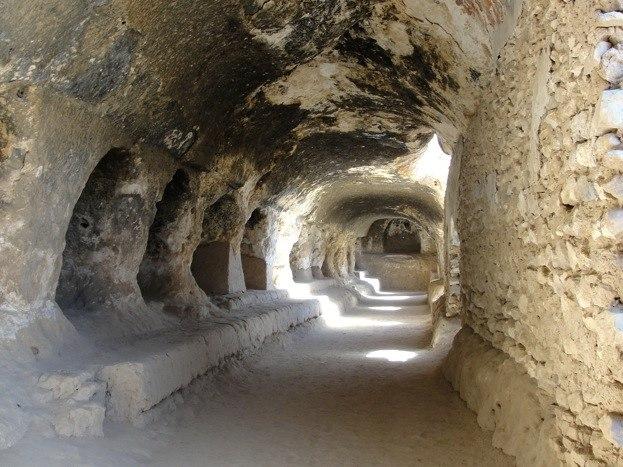 Cave system, stupa and monastery at Samangan