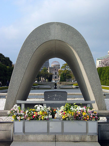 "The cenotaph at the Hiroshima Peace Park is inscribed with the sentence: ""Let all the souls here rest in peace; this mistake shall not be repeated."" Although the sentence may seem ambiguous, it has been clarified that its intended agent is all of humanity, and the mistake referred to is war in general. Cenotaph Hiroshima.jpg"