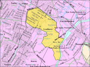Lyndhurst, New Jersey - Image: Census Bureau map of Lyndhurst, New Jersey