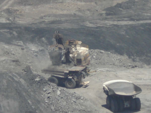 Trucks loaded with coal at the Cerrejón coal mine in Colombia.