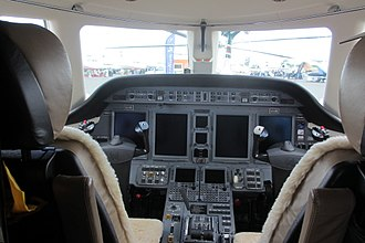 Cessna Citation Sovereign - glass cockpit with four LCD screens