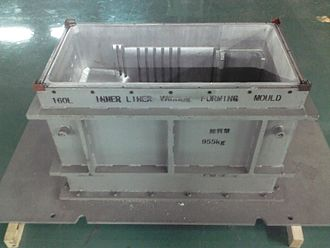 Vacuum forming - Vacuum forming mold made from Aluminium (cavity) and Steel (frame)