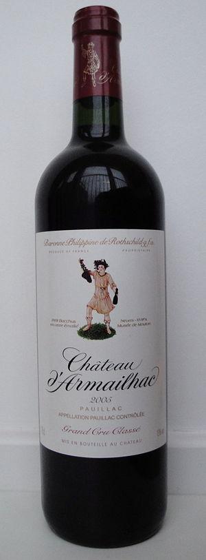 Château d'Armailhac - A bottle of 2005 Château d'Armailhac.