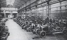 Le linee di montaggio della Type A, primo modello prodotto dalla Citroën