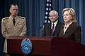 Chairman of the Joint Chiefs of Staff Navy Adm. Mike Mullen, left, Secretary of Defense Robert M. Gates, center, Secretary of State Hillary Rodham Clinton, right, and Secretary of Energy Steven Chu conduct 100406-N-TT977-069.jpg
