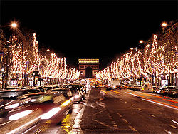 The Champs-Élysées in the 8th arrondissement during the Christmas season.