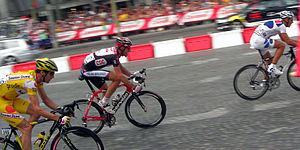 Champs-Élysées stage in the Tour de France - Tour 2006: David Millar, Jens Voigt and Philippe Gilbert.