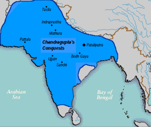 Kalinga War - Kalinga (adjacent Bay of Bengal) and Maurya Empire (blue) before the invasion of Ashoka