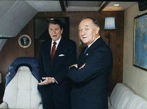 Charles J. Pilliod Jr. - right, on Air Force One in 1988, with President Ronald Reagan, left.