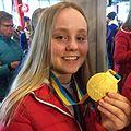 Charlotte Selbekk bandy SM gull 2016.jpg