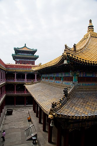 Putuo Zongcheng Temple - View within the Cihangpudu building, the main hall of the temple, crowned with Chinese pavilions and centered around a hall with a golden rooftop (see gallery picture below).