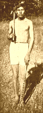 An early 20th Century photo of a traditional Cherokee stickball player.