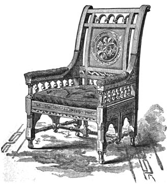 The Village Blacksmith - Chair made from the chestnut tree in the poem, presented to Longfellow in 1879