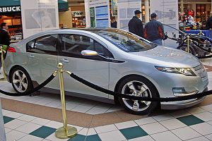 Lateral view of the Chevrolet Volt at a public...