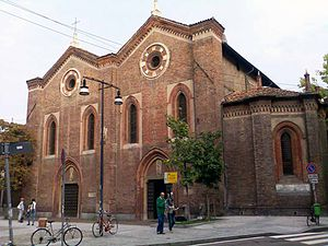 Santa Maria Incoronata, Milan - Double façade of the church.