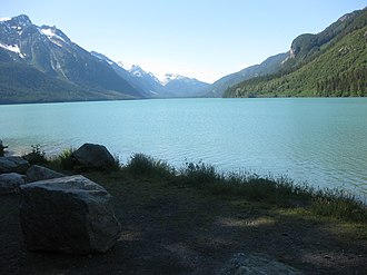 Chilkoot River - Upstream view of Chilkoot Lake and its watershed formed by Takshanuk Mountains and  Ferebee glacier