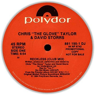 Reckless (1984 song) - Image: Chris 'The Glove' Taylor & David Storrs Reckless Tebitan Jam (Polydor Records 1984) (Promo) (Side A)